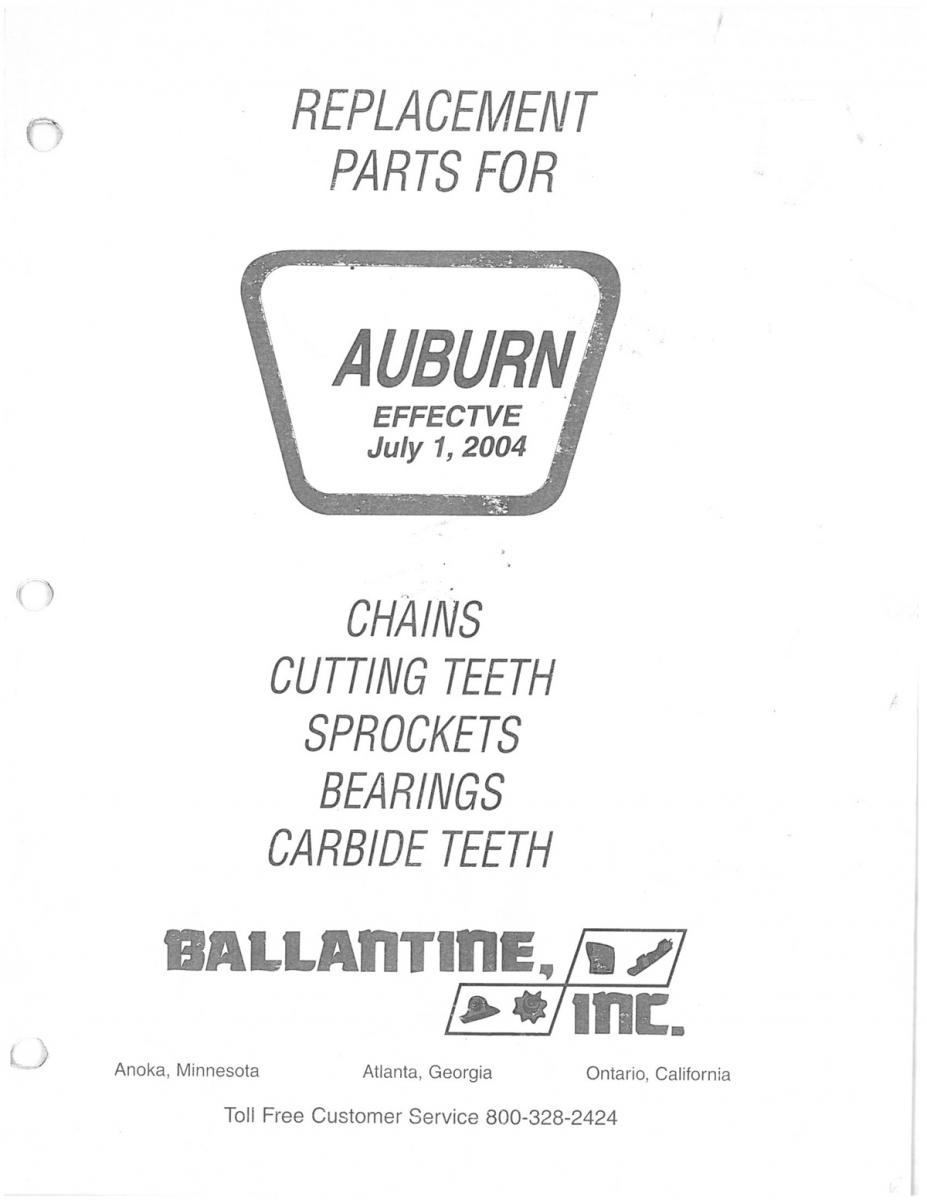 Trencher Replacement Parts Catalog. Auburn®